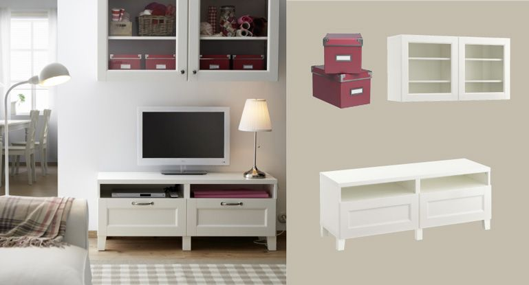 BESTÅ white TV bench with drawers and wall cabinet with glass doors