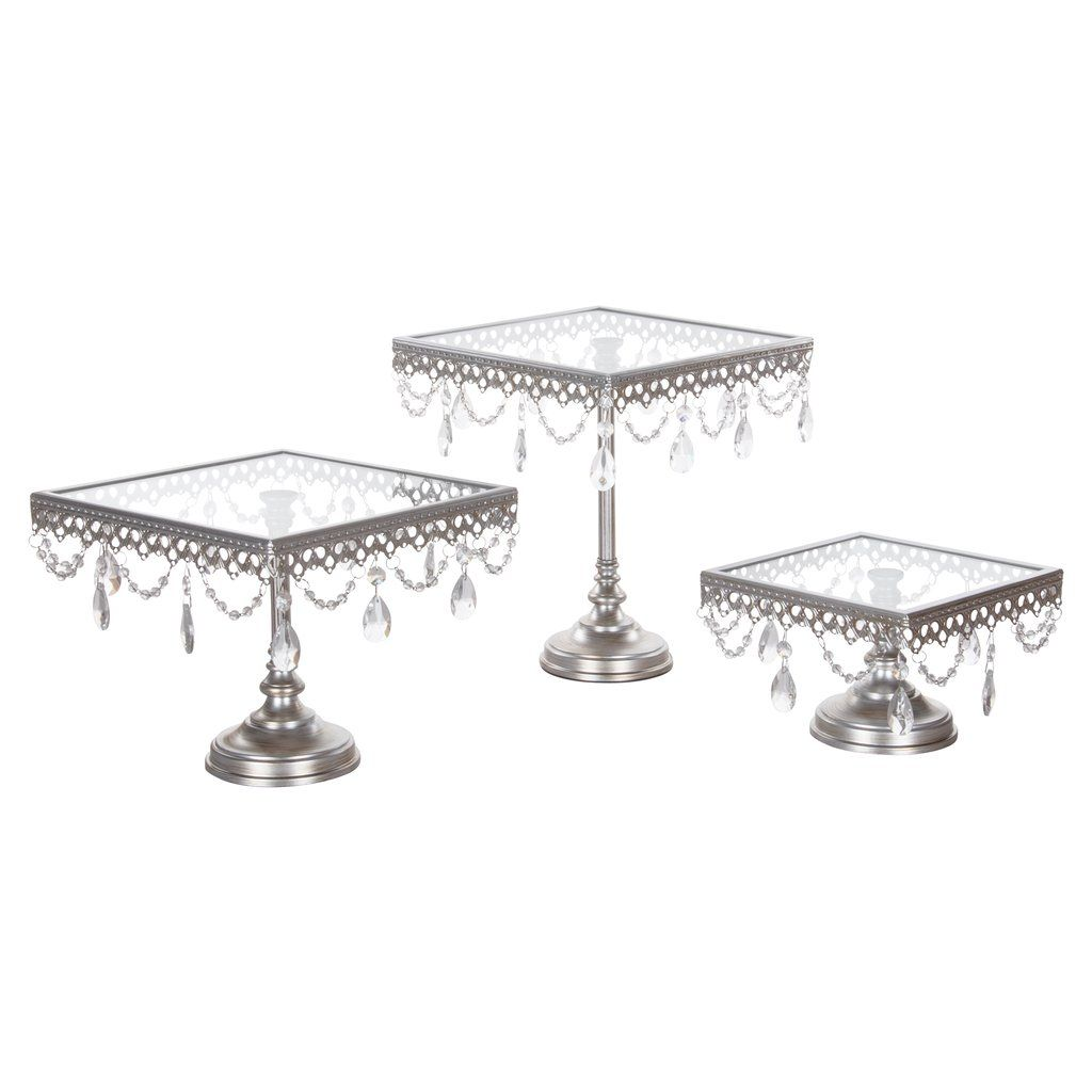 3piece square glasstop crystal cake stand set silver