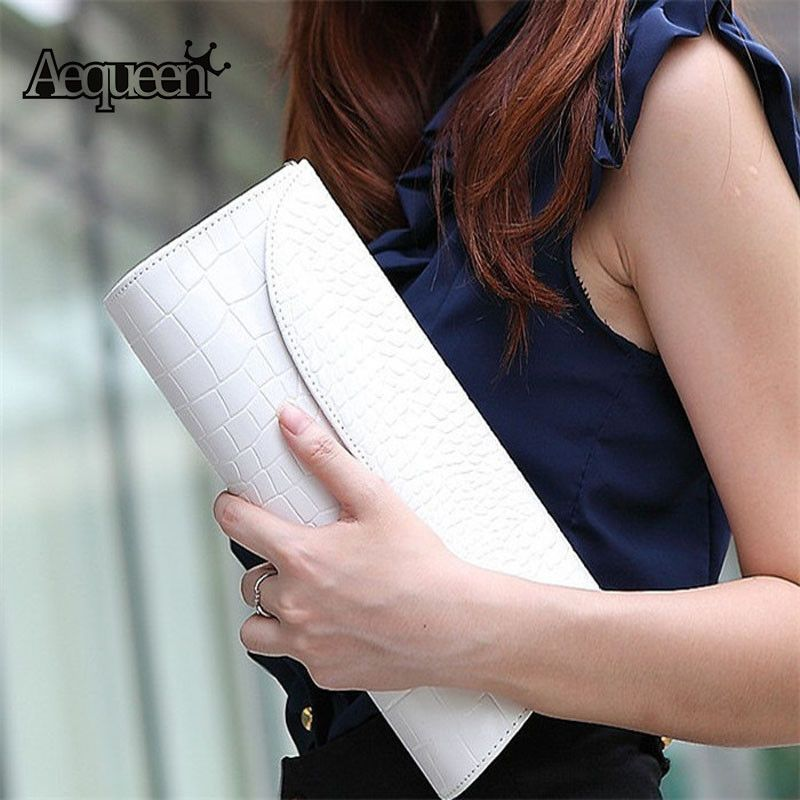 AEQUEEN Women Evening Clutch Bags Wristlet Stone Pattern Handbag Leather Messenger Purse Fashion Bag Bolsas Zip Day Clutches