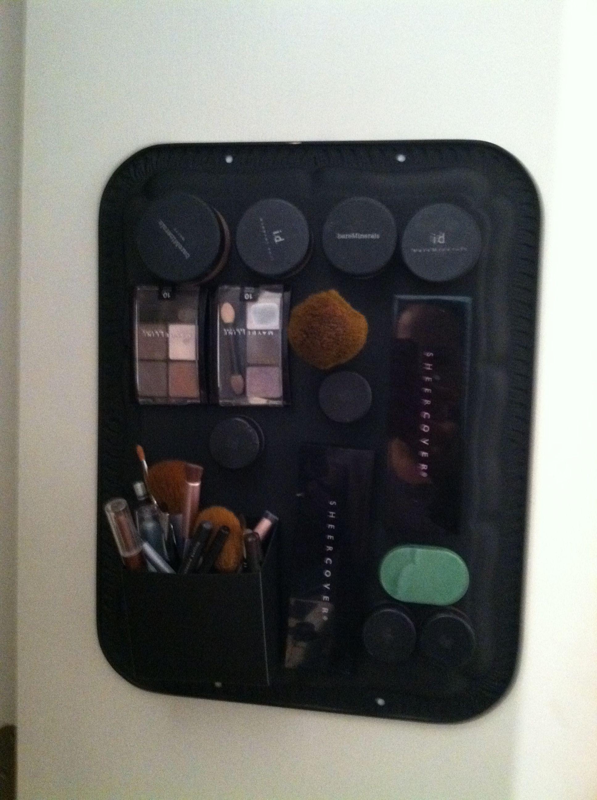 Magnetic make-up board inside my linen closet!!!  Love it!