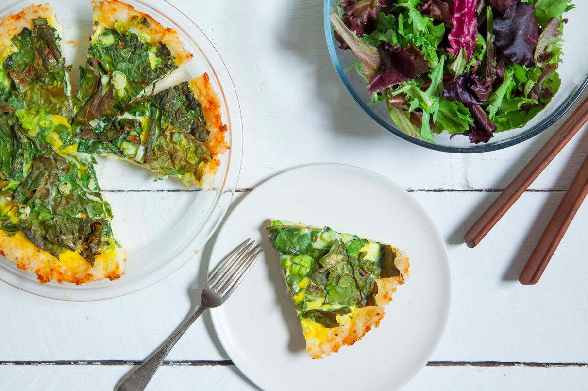 ~Gluten-Free Kale Quiche with Cheddar-Rice Crust - Read More at Relish.com~