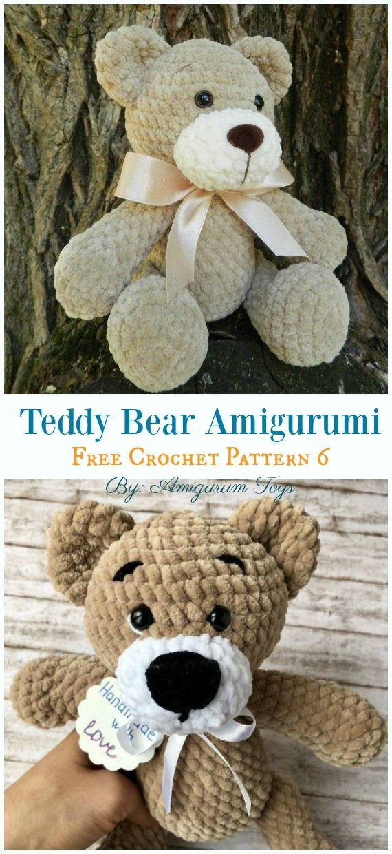Free Amigurumi Bear Toy Softies Crochet Patterns #crochetbearpatterns