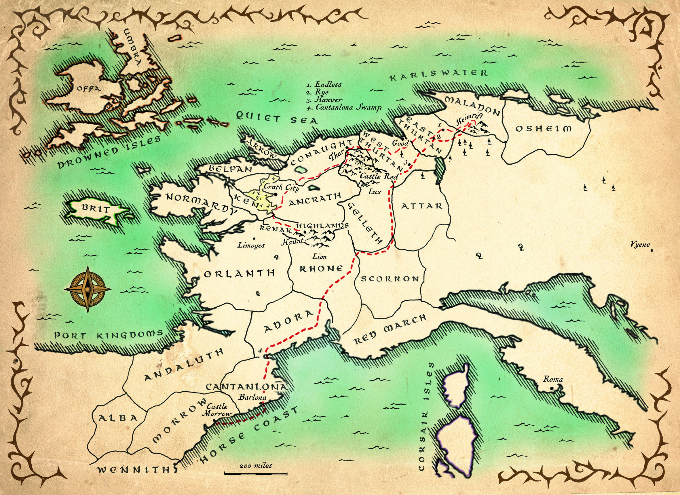 Broken Empire Map From King Of Thorns Fantasy Map Map Vintage