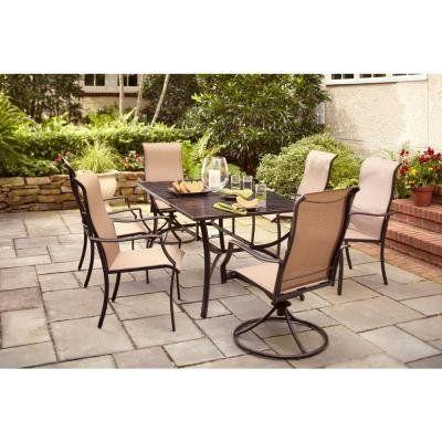 Amazon Com Hampton Bay Amica Outdoor Decorative 7 Piece Patio Dining Set Seats 6 Patio Lawn Hampton Bay Patio Furniture Patio Patio Furniture Dining Set
