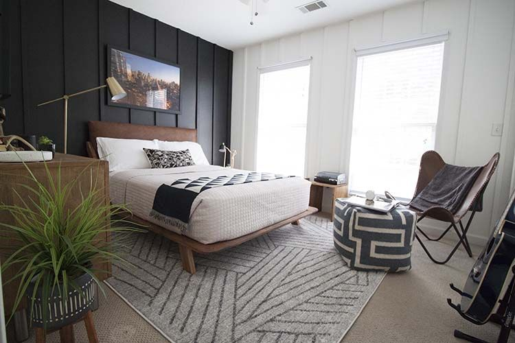 MidCentury ModernTeen Boy Bedroom Makeover is part of Boys bedroom Black And White - Black and white midcentury modern teen boy bedroom makeover with lots of DIY projects for a stunning, yet inexpensive, result
