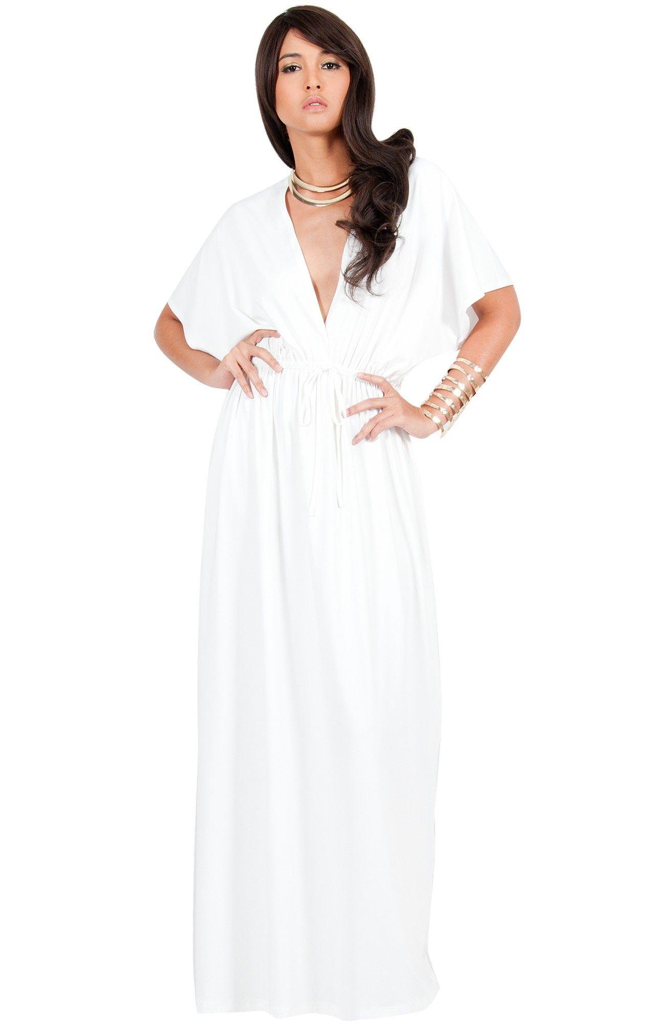 BRIELLE - Long Maternity Kimono Sleeve Vneck Cocktail Maxi Dress