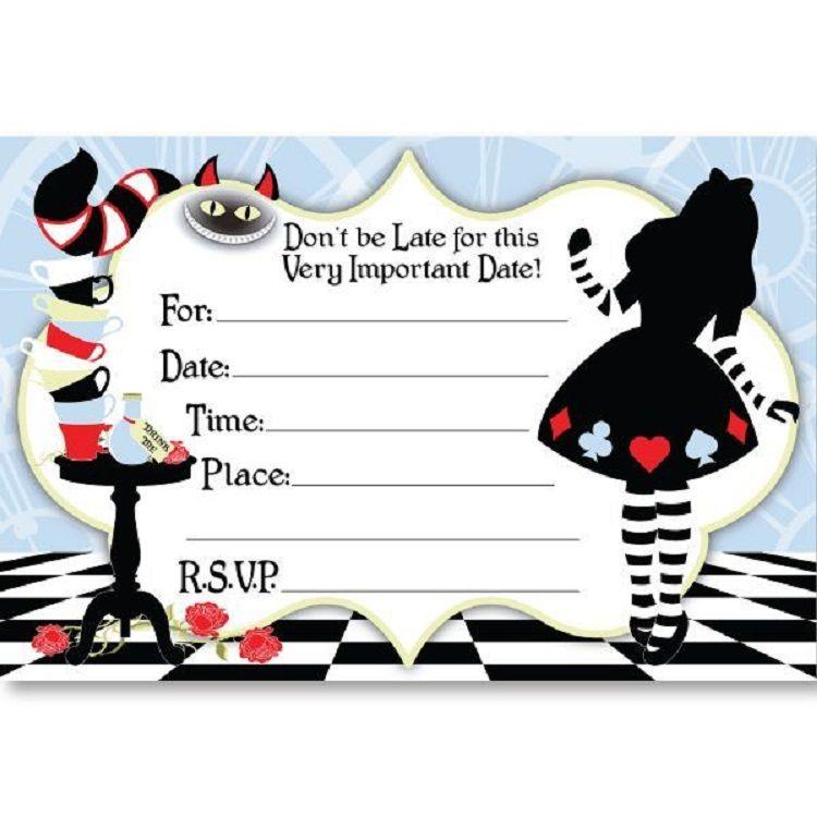 Free Printable Alice In Wonderland Birthday Invitations Invitation