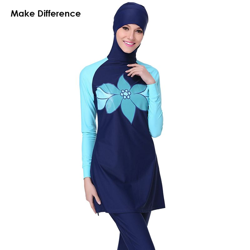 1aff13cac3 Make Difference Print Muslim Swimming Clothes Full Cover Modest Islamic  Hijab Swimwear SwimSwimSuits Burkinis for Muslim Girls Women Muslim fashion  ...