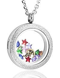 Living Memory Floating Heart Locket Pendant Necklace Crystal Stainless Steel Rainbow Color
