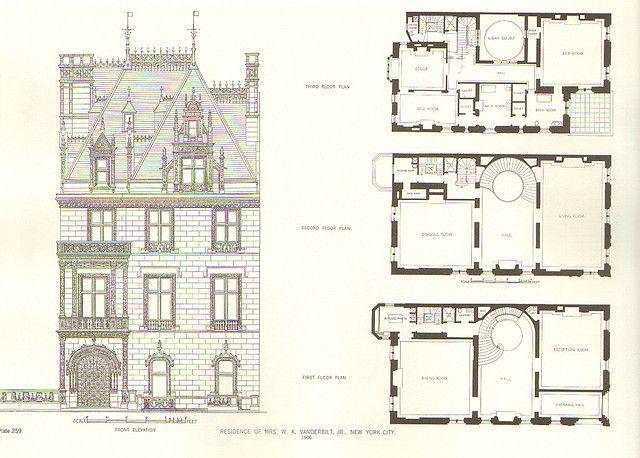 Floorplans For Gilded Age Mansions Page 2 Floor Plans Vintage House Plans Mansion Plans