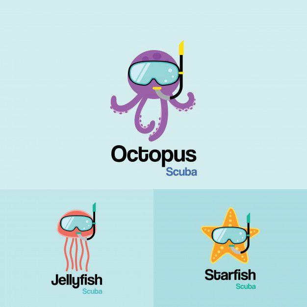 Море жизни осьминог медуза морская зв  Premium Vector
