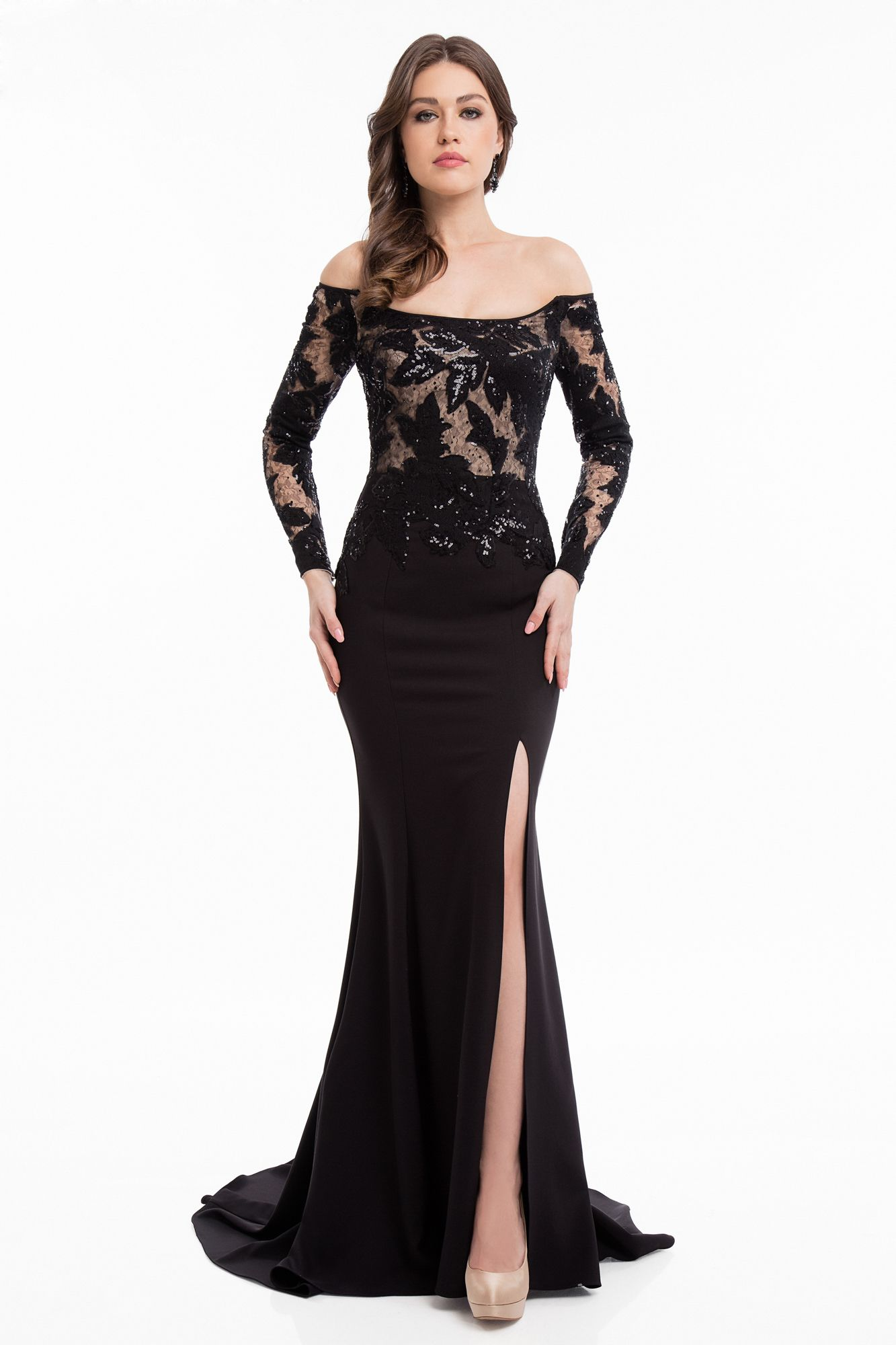 732a9bd8f369688 Radiate Hollywood glamour in the Long Sleeve Embellished Lace and Crepe  Evening Gown by Terani Couture.