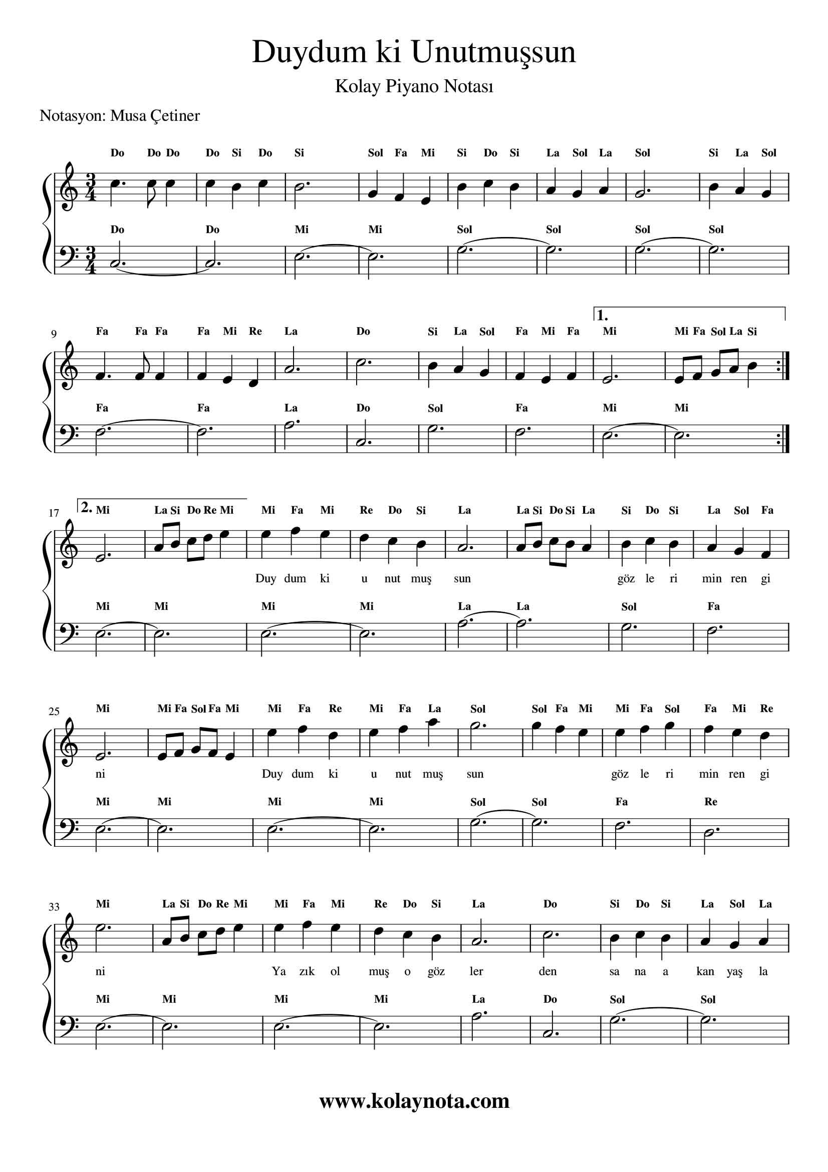 Duydum Ki Unutmussun Kolay Piyano Notasi Piyano Piyano Muzigi Notalara Dokulmus Muzik