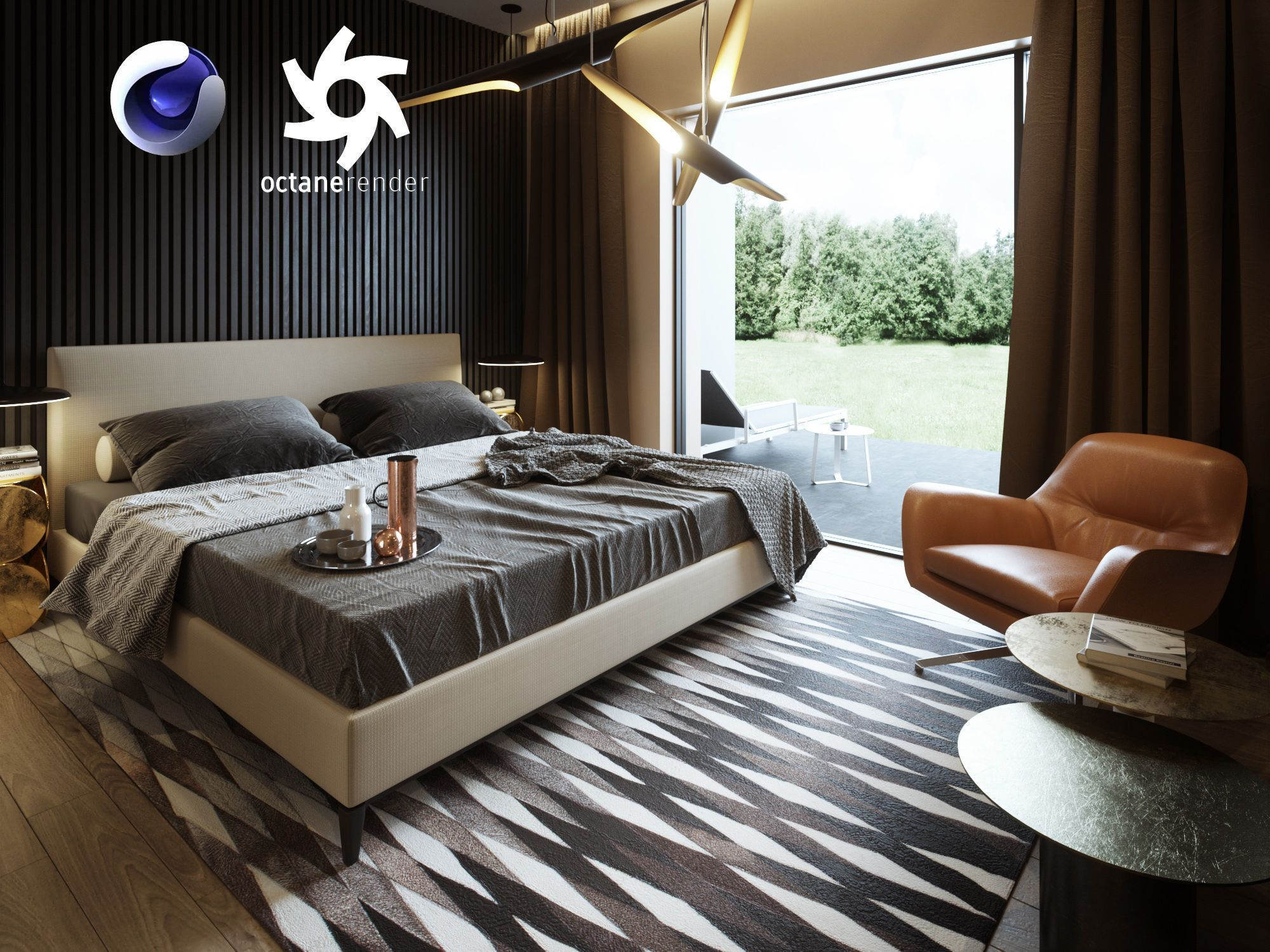 Bedroom Interior Scene for Cinema 11D and Octane Render  11D model