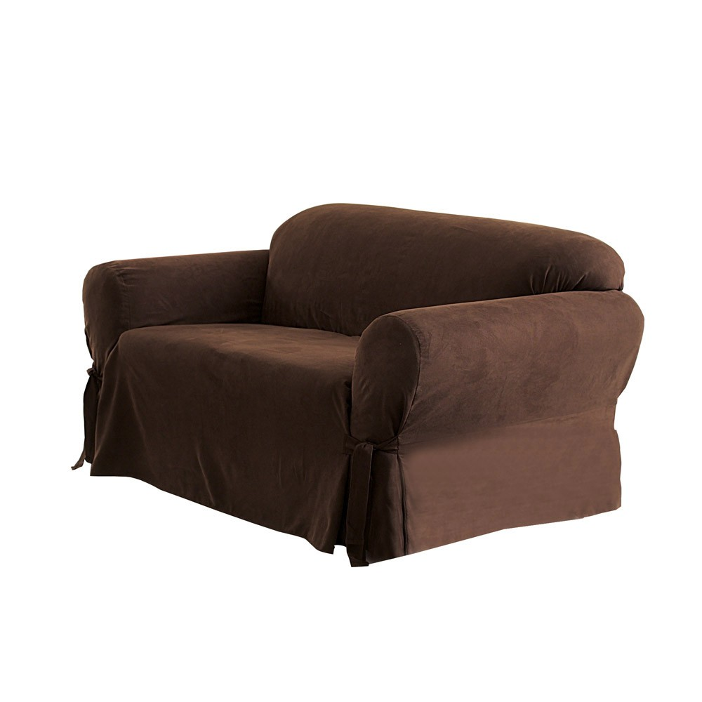 Best Soft Suede Sofa Slipcover Chocolate Sure Fit Brown 400 x 300