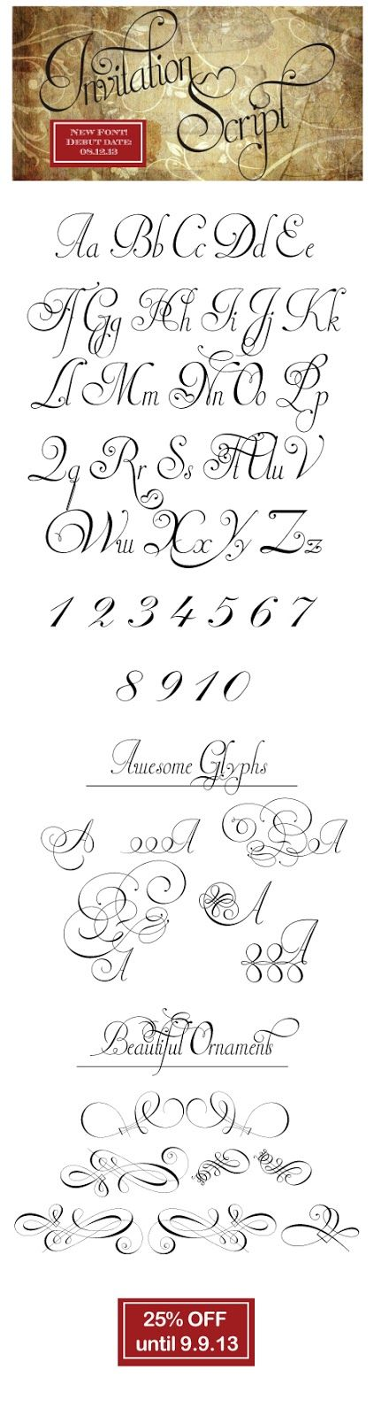 New font debuted on 081213! #Invitation Script #Fonts - Letras Para Tatuajes