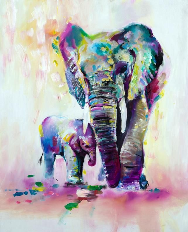 Home Wall Decor Art Animal African Elephants Oil Painting HD Printed On Canvas