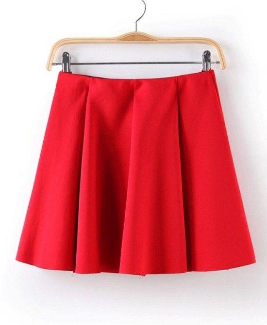 $10, Red Skater Skirt: ChicNova Pure Color Skater Skirt. Sold by ChicNova. Click for more info: https://lookastic.com/women/shop_items/136401/redirect
