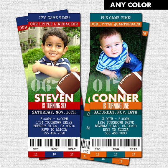 FOOTBALL TICKET INVITATIONS - Birthday Party (printable) - Any - printable ticket invitations