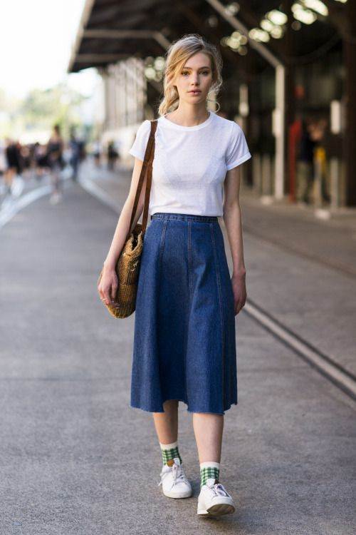 This season look for a denim skirt shape that has an on trend 70s silhouette. www.stylestaples.com.au