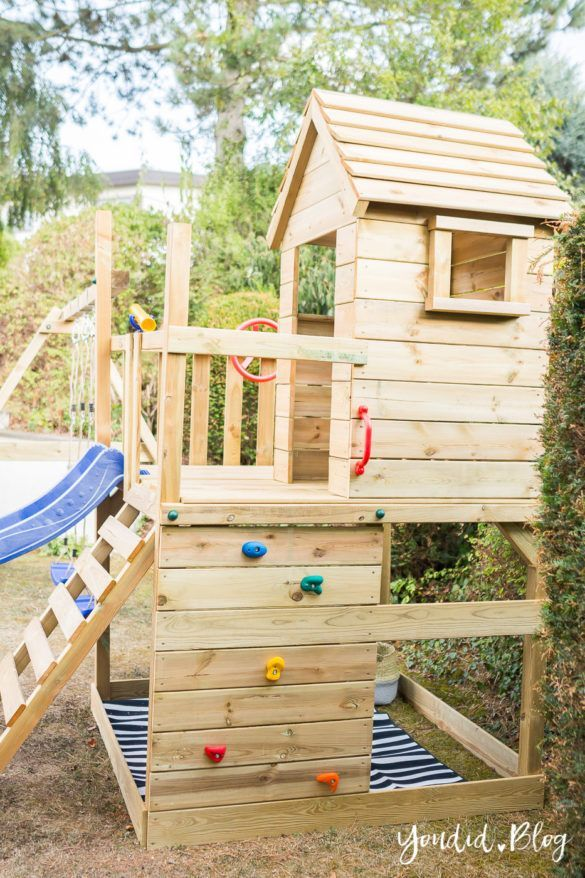 Photo of Et klatretårn med sklie, sandkasse, sving og lekehus – vår erfaring med Wickey leketårn – Youdid – Katie