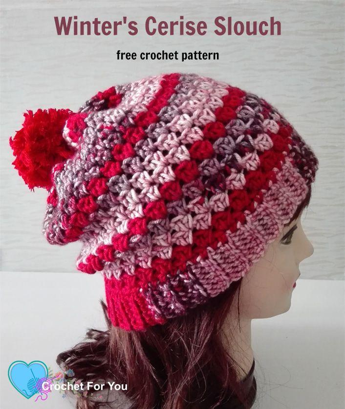 Winters Cerise Crochet Slouch Free Pattern Free Pattern Crochet