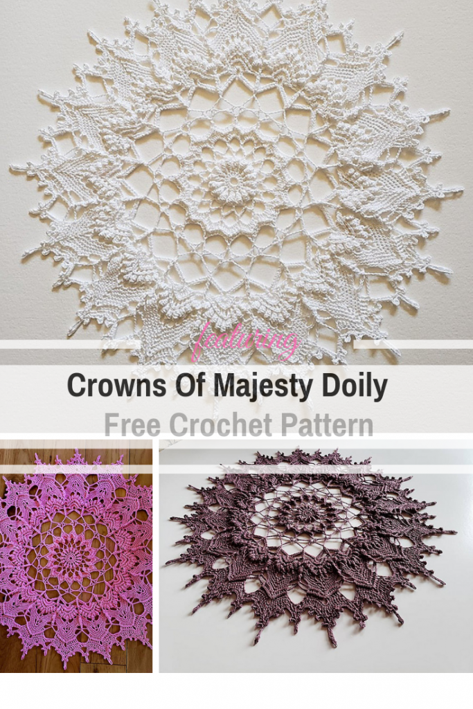 Free Crochet Doily Pattern With A Royal Design - Knit And Crochet Daily #crochetdoilies