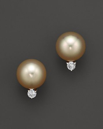 Diamond and Golden South Sea Pearl Earrings in 14K Yellow Gold, 10-11mm | Bloomingdale's=1750.<3<3