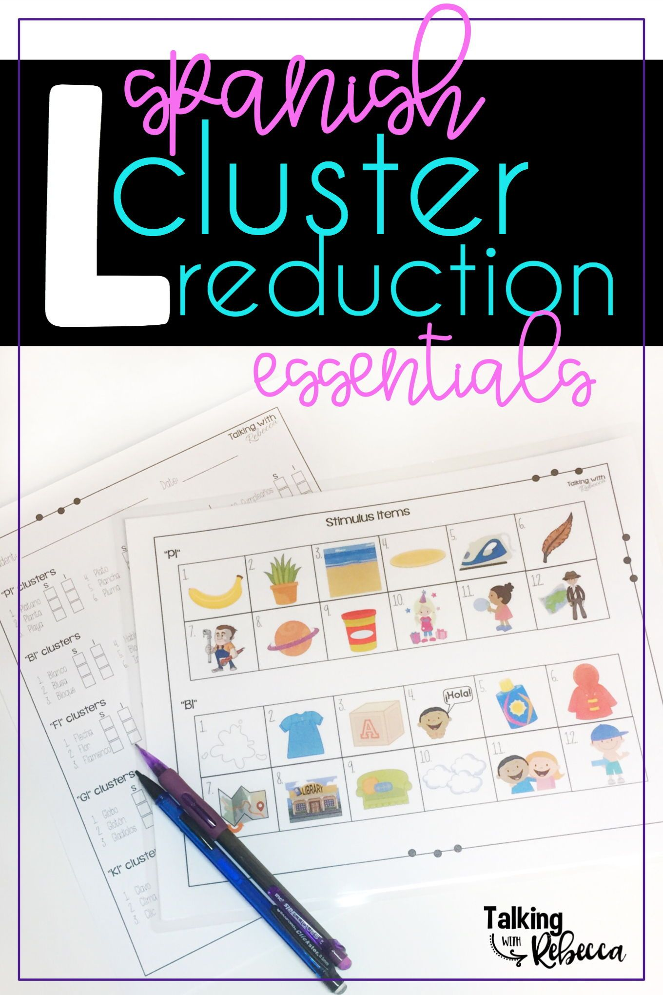 Spanish Articulation L Cluster Reduction Activities