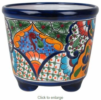 Large Footed Mexican Talavera Pottery Planter