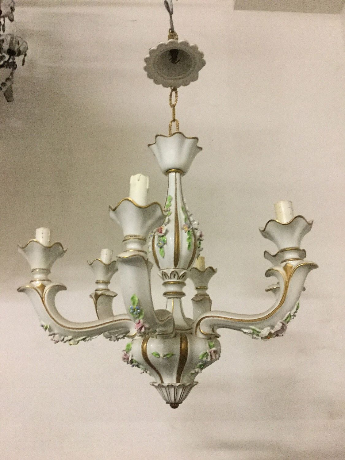 Italian capodimonte porcelain chandelier vintage capodimonte hand italian capodimonte porcelain chandelier vintage capodimonte hand painted chandelier wiring compatible with usa aloadofball Choice Image