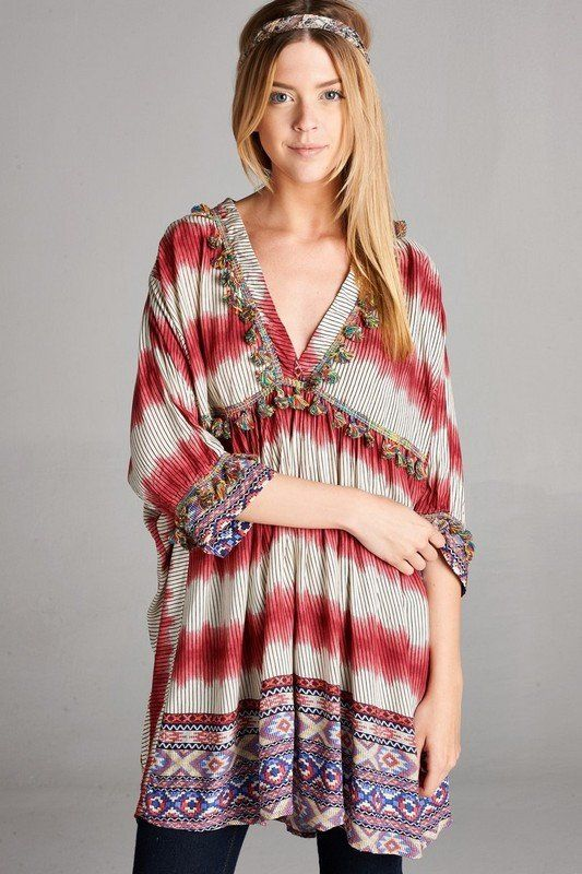 a96319da3f6 V-neck half sleeved boho print tunic top with multi color fringe detailing.  - Colors Available  Coral   Blue - Plus Available only in Blue Combo