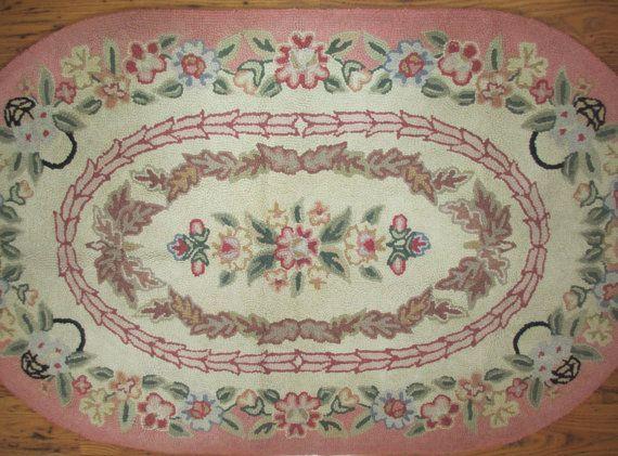 Vintage Oval Hooked Rug Pink Fl Wool 32 X 54