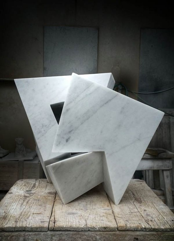 Carrara Marble Carved Abstract Contemporary Modern Sculpture Statue Carving  Sculpture By Artist Neil Ferber Titled: U0027On Edge (abstract Contemporaryu2026