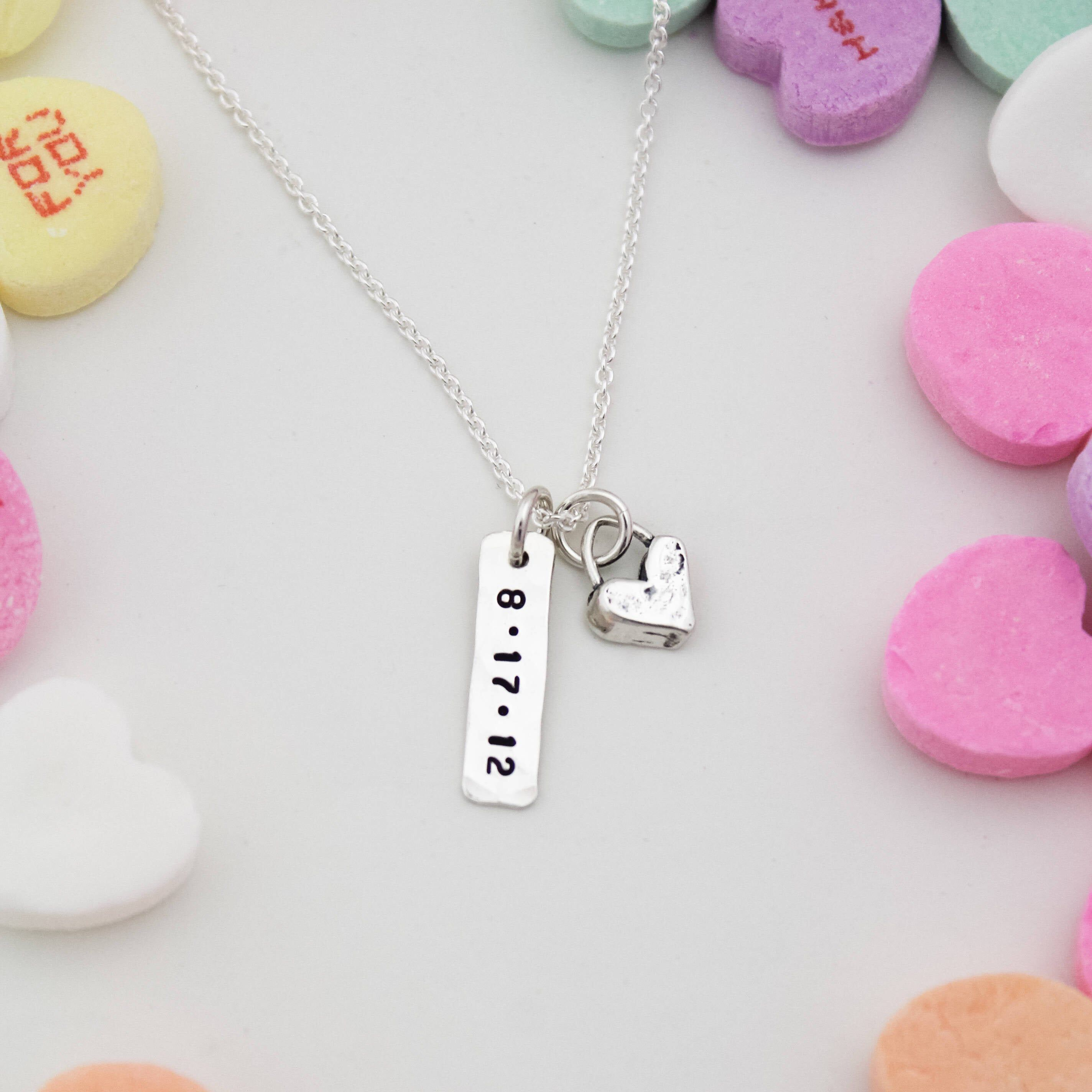 Petite Date Tag and Cute Heart Necklace, Valentine's Day ...