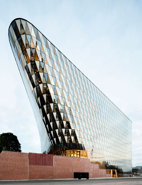 Wingårdhs designs an auditorium with a slanted glass facade