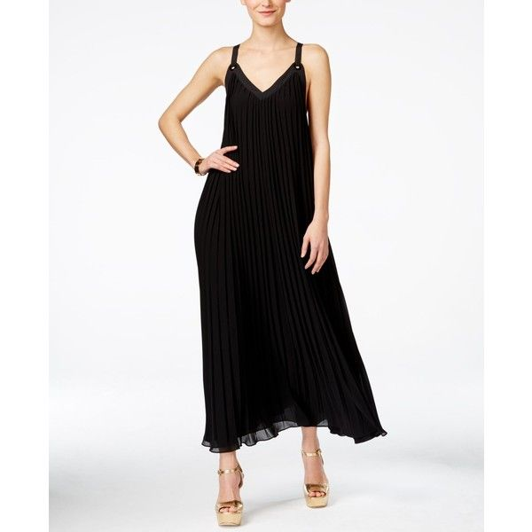 42435b4ac Michael Michael Kors Embellished Pleated Maxi Dress ($80) ❤ liked on  Polyvore featuring dresses, black, maxi dresses, michael kors dresses, eyelet  dress, ...