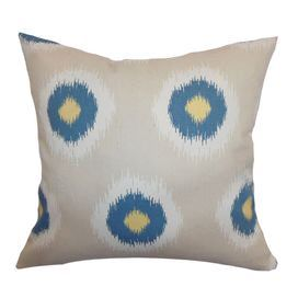 """Add a pop of artistic intrigue to your bedroom, living room, or office with this eye-catching pillow.    Product: PillowConstruction Material: Cotton and feather down fillColor: Taupe and blue Features:  Hidden zipperInsert included Dimensions: 18"""" x 18""""    Shipping: This item ships small parcelExpected Arrival Date: Between 04/24/2013 and 05/02/2013Return Policy: This item is final sale and cannot be returned"""