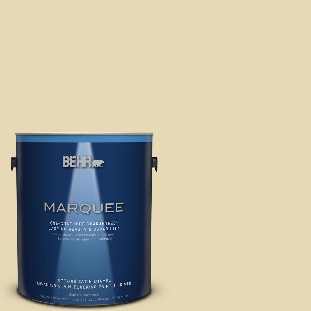 BEHR MARQUEE 1 gal. #MQ3-42 Honey Mist One-Coat Hide Satin Enamel Interior Paint-745001 - The Home Depot