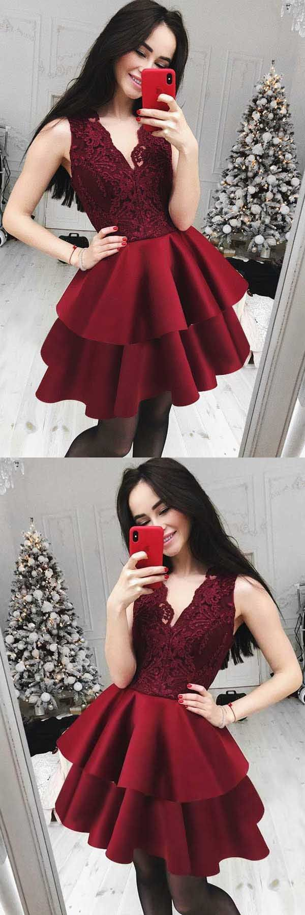Aline vneck tiered dark red homecomingparty dress with lace pd