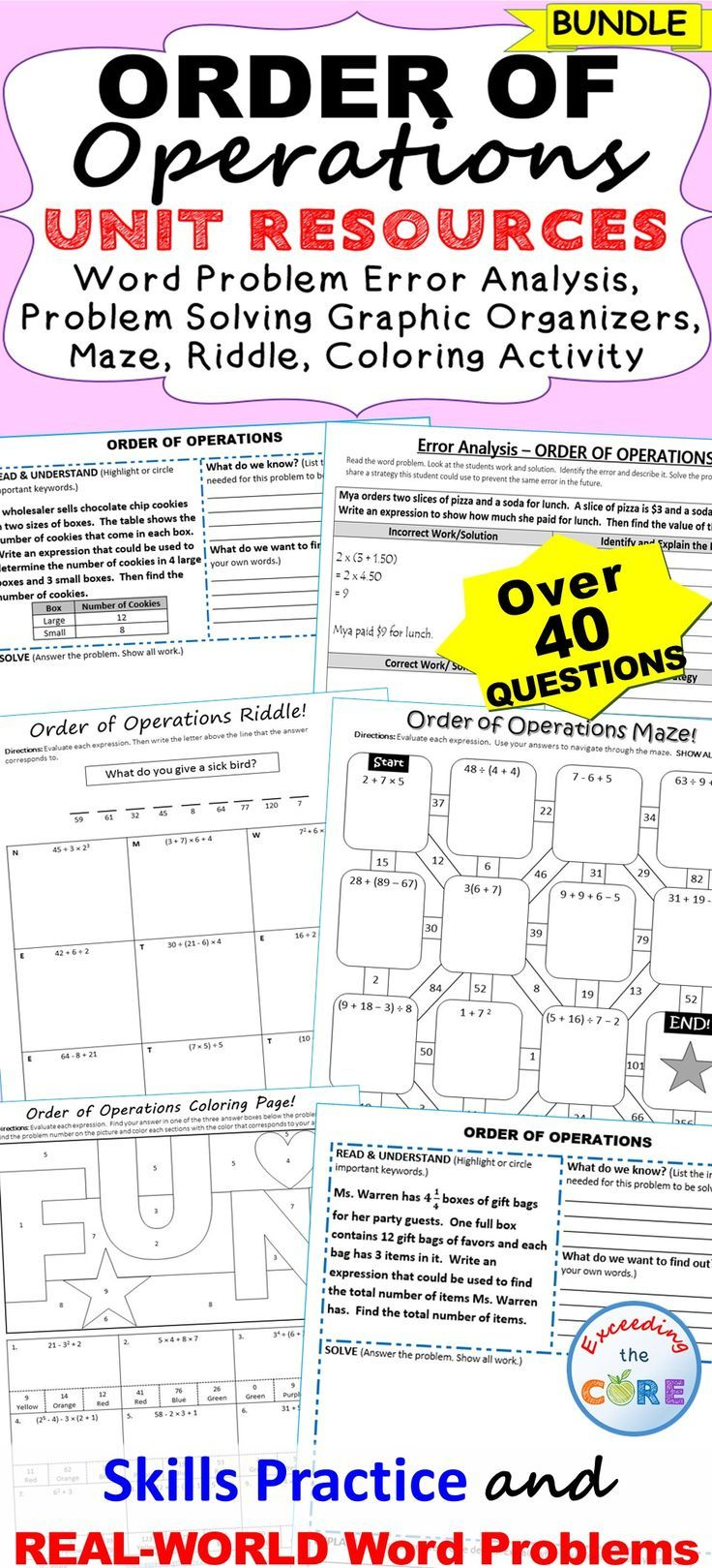 ORDER OF OPERATIONS Bundle Error Analysis, Task Cards
