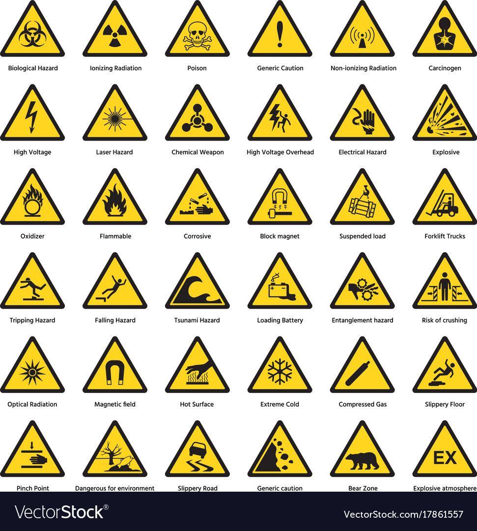 Set Of Triangle Yellow Warning Sign Hazard Dander Vector Image On Vectorstock Hazard Symbol Warning Signs Chemical Hazard Symbols