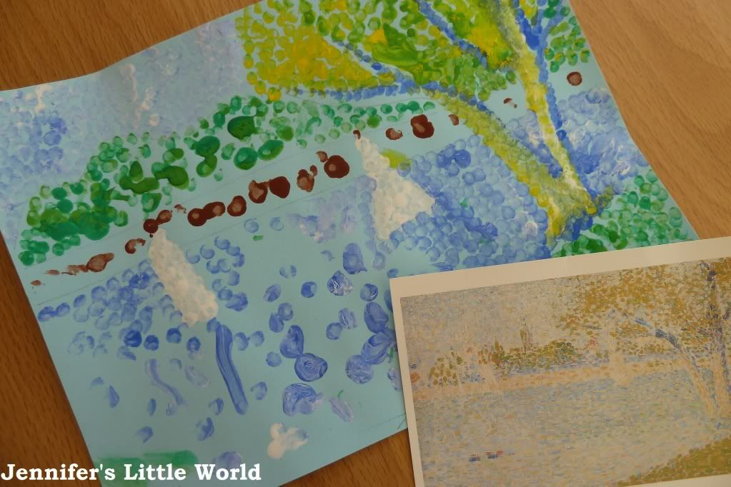 Jennifer's Little World blog - Parenting, craft and travel: Kids Get Arty - dotty painting inspired by Seurat