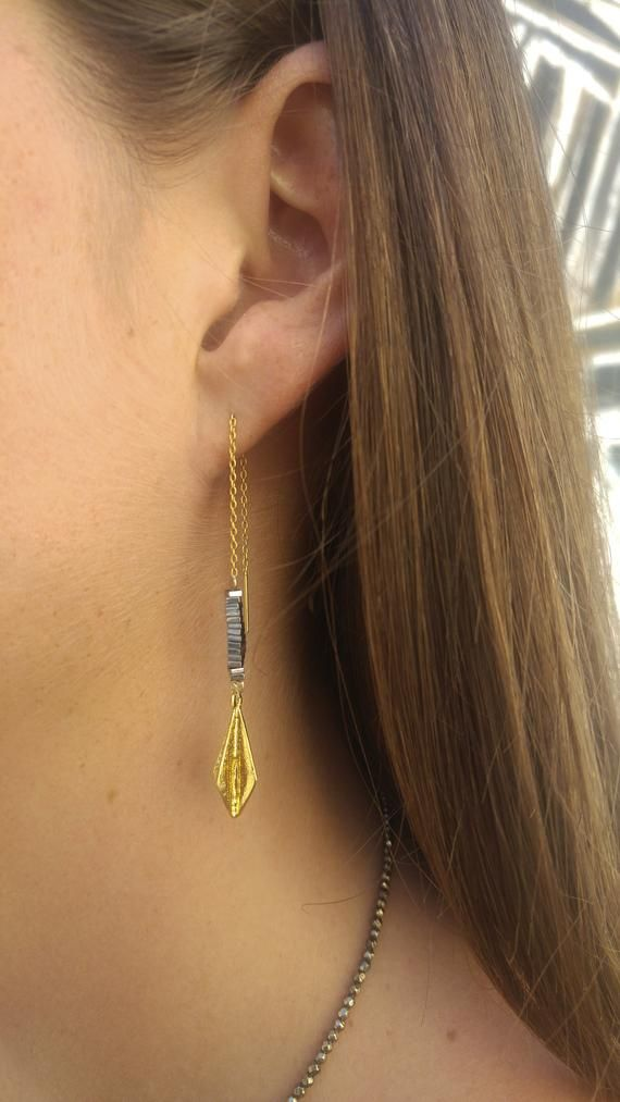 Pull Through Earring Gold Chain Earrings Arrow Head