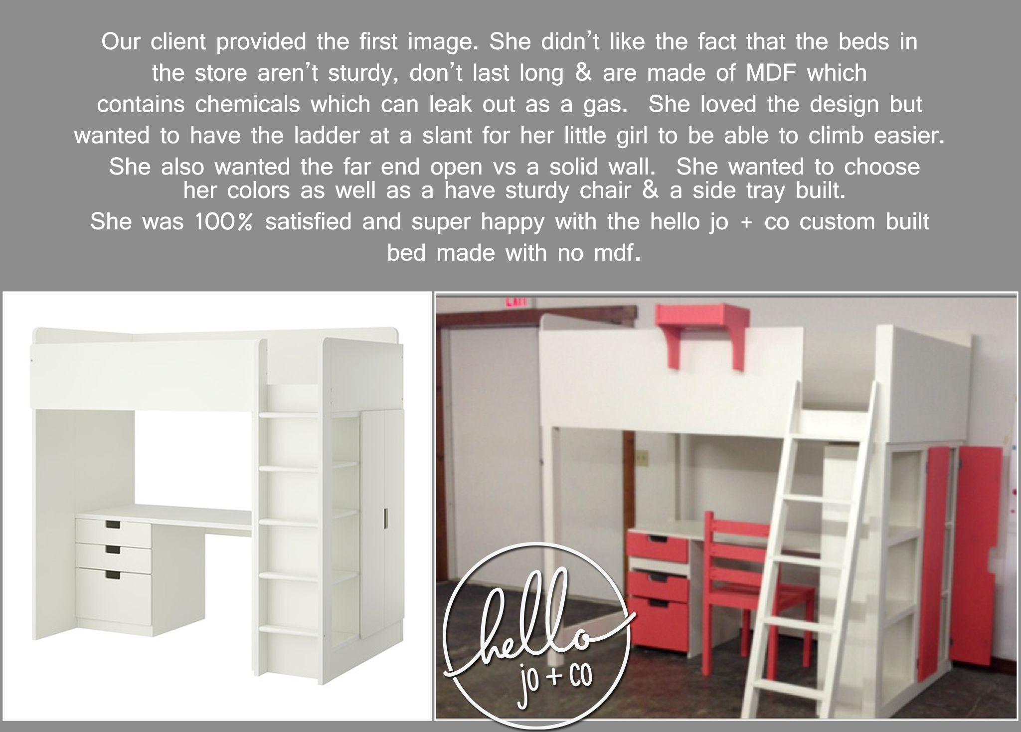 hello jo + co custom created twin loft bed.