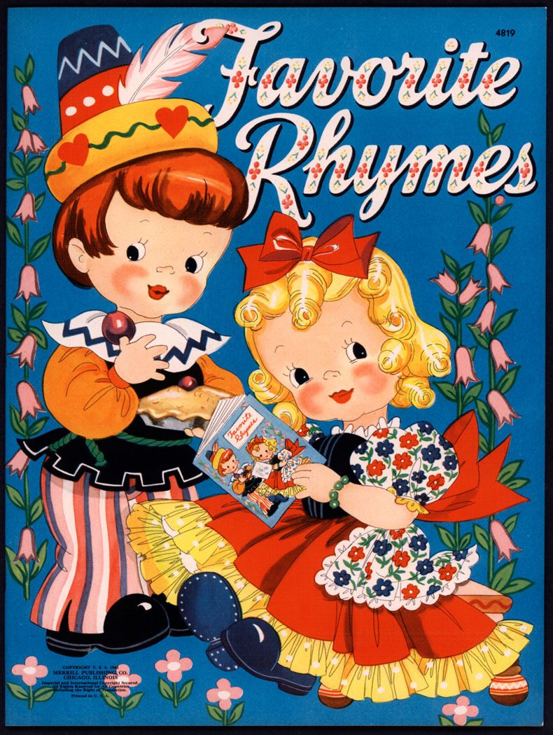 Merrill Archive Copy Favorite Rhymes 4819 1942 M236 Vintage Coloring Books Childrens Books Illustrations Rhyming Books