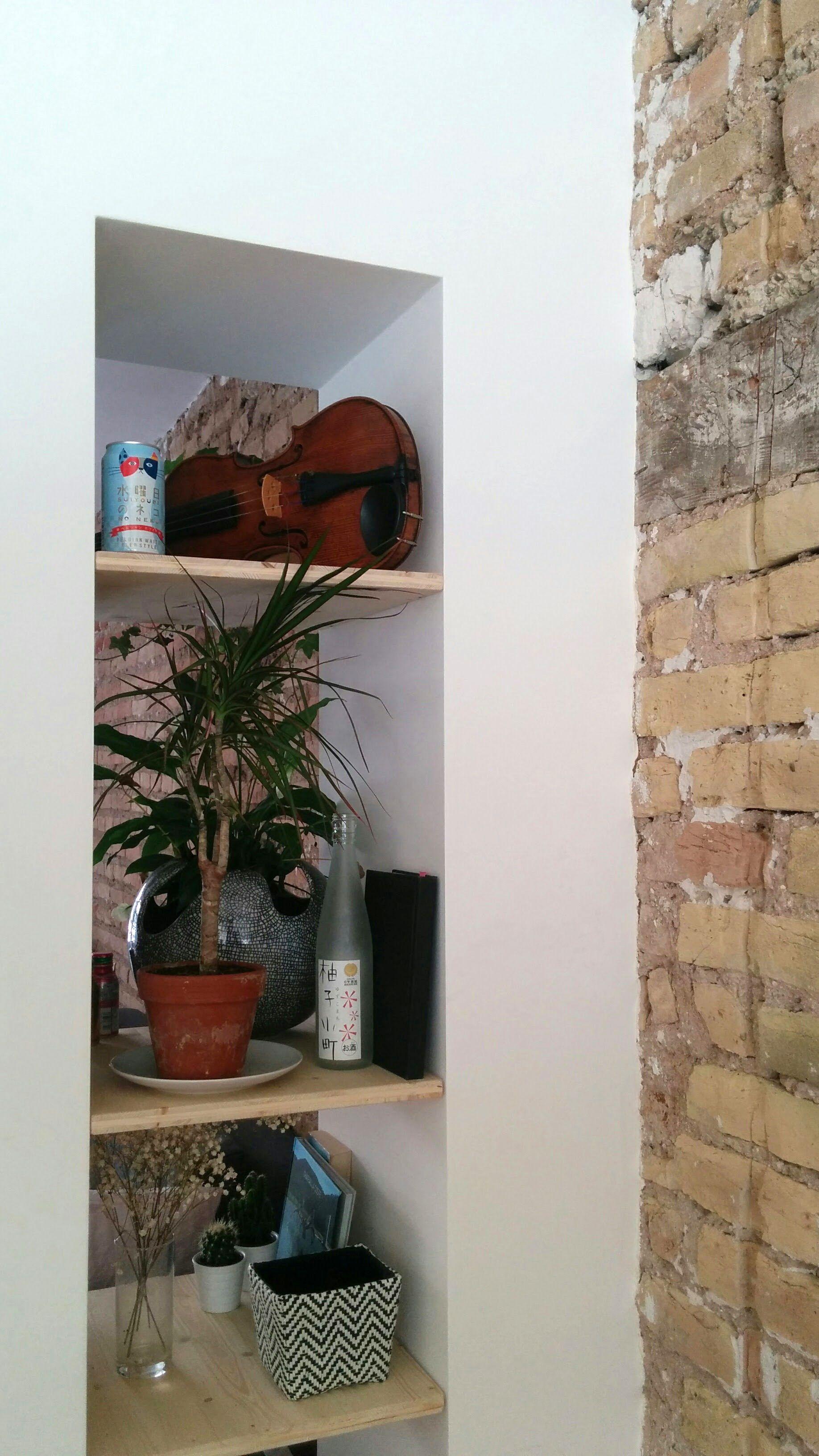 Etagere Sur Mur En Brique Étagère encastrée entre séjour et salle à manger / mur en