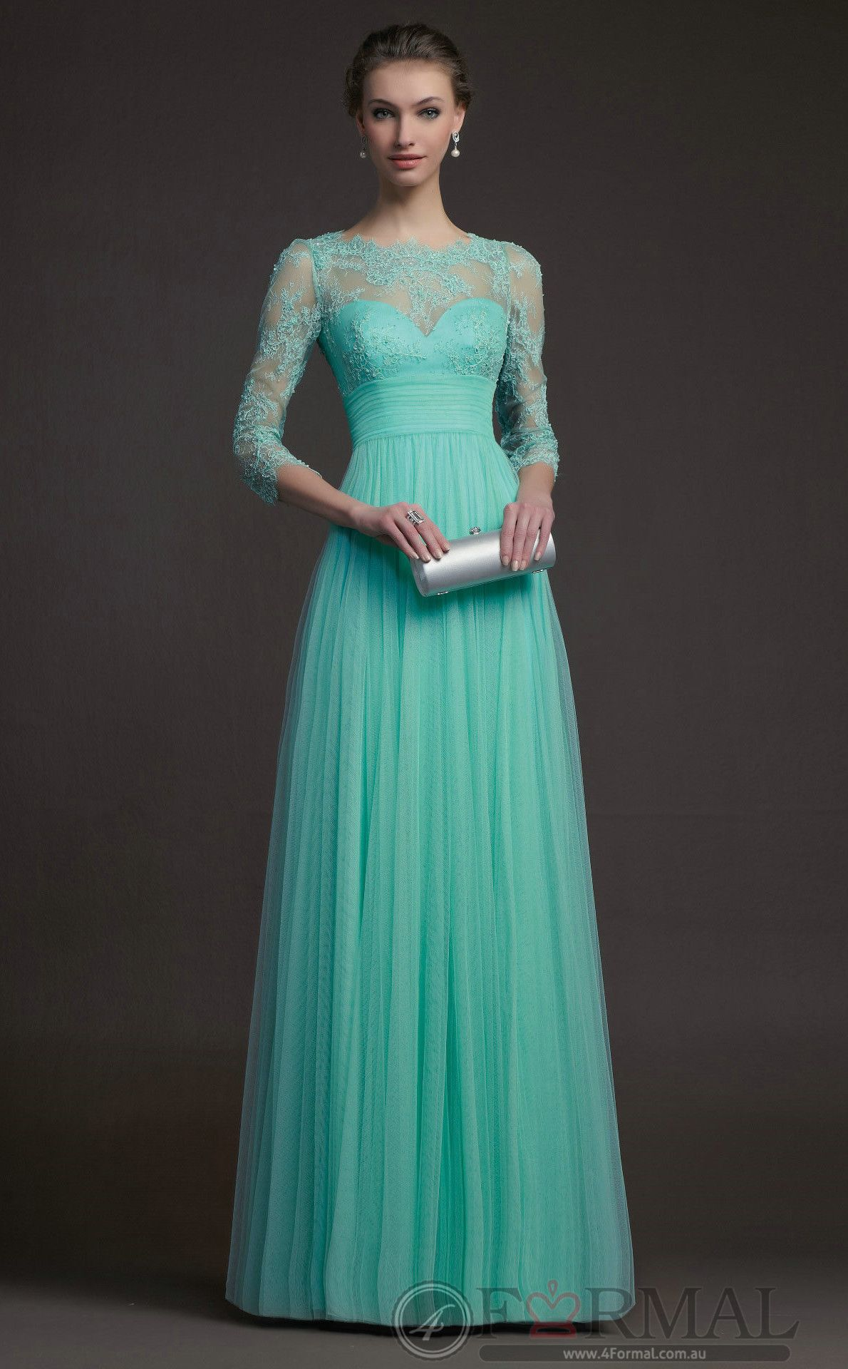 Green Lace Long Semi-Formal Formal Evening Gowns with Long Sleeves ...