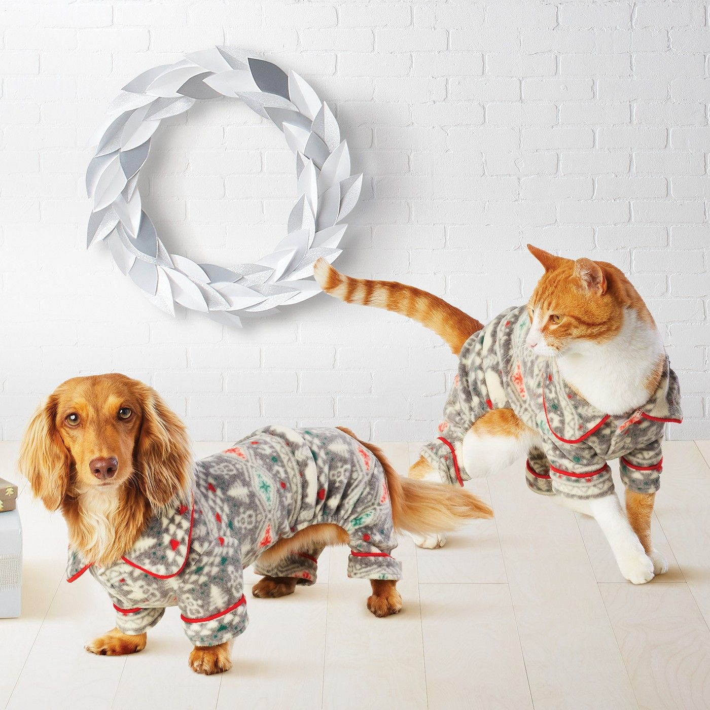 Pet Holiday Fuzzy Bear Fair Isle Pajamas