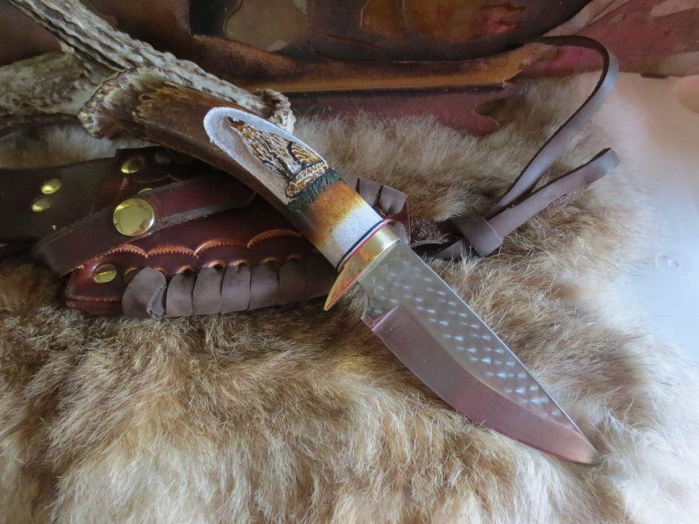 "Hunting Knife Ken Richardson CUSTOM MADE N USA CARVED Wolf  4"" DROP BLADE #KenRichardsonKnives"
